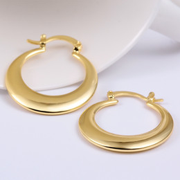 Ouro genuíno 18k on-line-Lua Genuine 18k ouro amarelo Rose Golden círculos earings e030 Moda Jóias 2015 novo