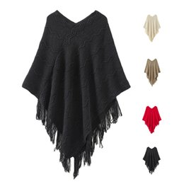 Wholesale Stripe Batwing - S5Q Women's Winter V Neck Poncho Shawl Fringed Batwing Stripes Irregular Sweater AAAFLV