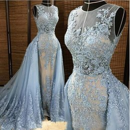Wholesale Formal Dress Transparent Sleeves - Real Image Elie Saab Prom dresses Light Blue Detachable Train Transparent Formal Dresses Party Pageant Gowns Custom Made Prom Dresses Long
