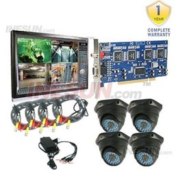 Wholesale 8ch Video Capture Card - 4 CH MPEG-4 Real Time DVR Capture Card D N DOME Camera 8Ch Video 4Ch Audio CCTV System