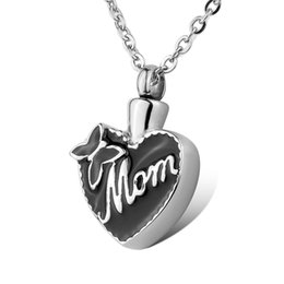 Wholesale Cremation Jewelry Necklace Mom - Cremation Jewelry Stainless Steel Mom Bowknot Love Heart Waterproof Urn Necklace Ash Memorial Jewelry with gift bag and chain