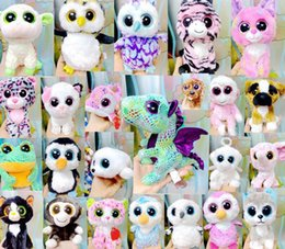 Wholesale Crystal Toy Eye Wholesale - The New TY Beanie Boos 17CM Crystal Big Eyes Plush Stuffed Animal Toys Doll For Children Christmas Gifts Free Shipping