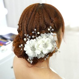 Wholesale Hair Made Plate - New Style Hand Made Rhinestone Beaded Bridal Wedding Hair Accessories Hair Flowers Headband Fashion Silk Lace Rose Flower Bridal Accessories