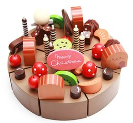 Wholesale Wooden Toy Cakes - Wholesale-New wooden toy Simulation Chocolate cake Baby toy Free shipping