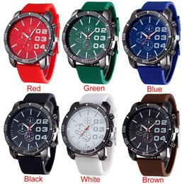 Wholesale Huge Silicone - Attractive Mens Stylish Luxury Huge Big Dial Silicone Band Quartz Wrist Watch Sports Watch