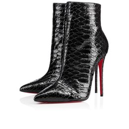 Wholesale Sexy Red Ankle Boots - 2017 Paris Winter Red Bottom Ankle Boots Women Sexy Women Pointed Toe So Kate Booty Genuine Leather Ladies Stiletto Boot High Heels Eu35-36