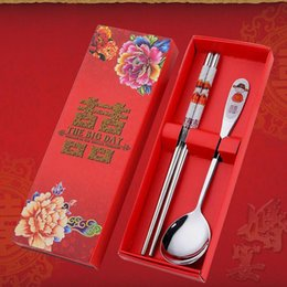 Wholesale Red Dinnerware - Stainless Steel Dinnerware Double Happiness Red Color Spoons Chopstick Sets Wedding Party Gifts For Guest ZA5169