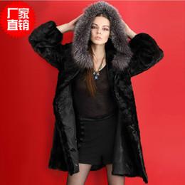 Wholesale Marten Collars - Manteau bomber 2015 marten fur coat overcoat female long design mink fur hooded casaco de pele false Faux Fur Overcoat Big Fur Outwear WT39