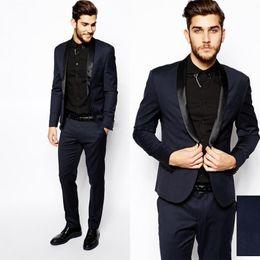 Wholesale Winter Fashion Mens Coat Navy - Men Formal Dress Suits Fashion Black Navy Business Suit Men Wedding Suits Mens Tuxedos Style Mens Prom Tuxedo (Coat+Pants)