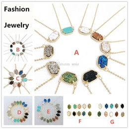 Wholesale ladies 14k gold necklace - Fashion Drusy Druzy Earrings Necklace Various 10 Colors Gold Plated Geometry Stone Earrings Necklaces Best for Lady Mix Colors