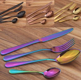 Wholesale Knife Party For Wedding - Stainless Steel Cutlery Set Rainbow Gold Plated Dinnerware Fork Knife Spoon Dinner Set for Wedding Party 4pcs set