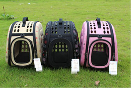 Wholesale Wholesale Dog Cages - Pet Travel Carrier Shoulder Small Dogs Cats Rabbits Bag Folding Portable Breathable Outdoor Carrier Pet Bag Portable dog cage