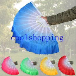 Wholesale Chinese Fans Color - DHL Freeshipping gradient color Chinese silk dance fan KungFu fan