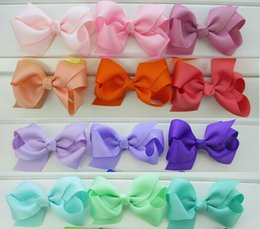 Wholesale Ribbon Hairclips - 10%off 2015 new 3.3''Grosgrain Ribbon Hair Bows WITH Clips Baby Boutique HairBows Hairclips baby girl Hair Accessories 40pcs lot
