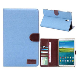 Wholesale Galaxy S S2 - Jeans Denim Folio Leather Case Skin with Stand Card Pocket for Samsung Galaxy Tab S Tab E TAb S2 Tablet