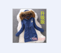 Wholesale Parking Pads - Wholesale-2015 New women park coat long thickening cotton-padded jacket Removable Hat AAA+