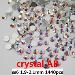 Wholesale Glass Rhinestone Foiled - wholesale 1440pcs   lot crystal AB ss6(2.0-2.1mm) crystal glass Rhinestone flatback rhinestones silver foiled free shipping