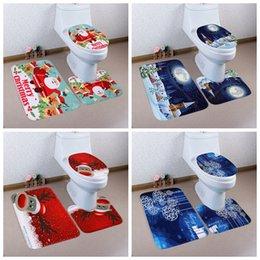 Wholesale Polyester Fiber Padding - 3PCS Set Home Christmas Toilet Polyester Fiber Foot Pad Seat Cover Bathroom Sets Xmas Decoration Enfeites Arvore De Natal