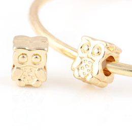 Wholesale Lovely Letters Bead - 18K Gold Alloy Beads Owl Shape With Lovely Eye DIY Big Hole Beads Spacer Murano Bead Charm Fit For Pandora Bracelet Charms