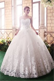 Wholesale Princess Chest - New Arrivals Fantastic Beatiful Sleeveless Elegant Sweet Princess Appliques Beads Lace up Wrapped Chest Ball Gown Wedding Dresses