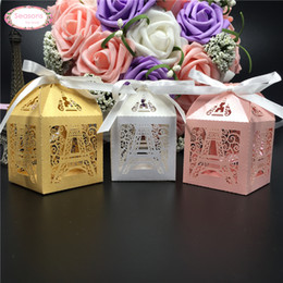 Wholesale Cutting Food Box - Wholesale- 50ps laser cut Paris Eiffel tower candy chocolate box wedding decoration birthday party supplies mariage favors and gifts
