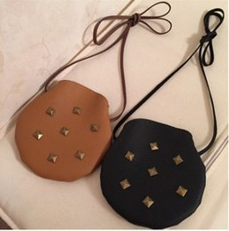 Wholesale Girls Kids Handbags Vintage - Fashion Kids Bags PU Leather Girls Handbags Baby Girl Vintage Rivets Mini Bag One shoulder Cross-body Bag babies Purse BJ044