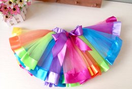 ribbons bows for skirts Coupons - New style ribbon tutu skirt baby girls rainbow tutus princess dance skirt birthday gift for girls pettiskirt