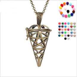 Wholesale Hollow Triangle - Triangle cone pearl accessories Disffuser Dolphins Necklace Locket Essential Oil Diffuser Necklaces Hollow out Locket Cage Pendant Necklace