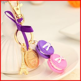 Wholesale plastic bag for cars - Fashion Macarons Eiffel Tower pendant keychain Macarons cookies cake key rings Carabiner Keychains bags pendants for women jewelry 170335