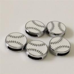 Бейсбольные горки онлайн-20 шт./лот горячая 8 мм DIY Бейсбол слайд подвески Fit 8 мм браслет пояса браслеты DIY компоненты мяч слайд прелести BC03