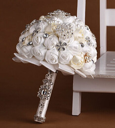 Wholesale Silk Brooch Flowers - Wedding Dresses Accessories Satin Rose Wedding bouquet Pearl Crystal handmade Bridal Flowers Bridesmaid bouquets Brooches Pearl Ribbon