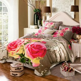 Wholesale King Size Doona Covers - Wholesale-3d Rose unqiue bedding set queen king size,Cotton doona duvet cover sets,queen king bedsheet set,fast shipping