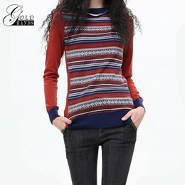 Wholesale Knit Fashion Pullover Pattern Free - Women Spring Casual Fashion O-Neck Full Sleeve Pullover Striped Pattern Loose Female Sweater Red Pullovers Indie Folk Sweaters