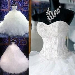 Wholesale Backless Organza Wedding Dresses - 2015 Ball Gown Wedding Dresses with Beaded Bodice Sweetheart Corset Royal Princess Gowns Ruffled Organza Chapel Train Bridal Wedding Dress
