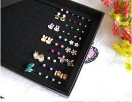 Wholesale Earring Display Show Case - Jewelry Display Holder Box Fashion Earrings Ring Organizer Show Case New Black 100 Slots Storage Ear Pin Display Boxes