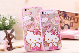 Wholesale Iphone5 Cute - Cute Cartoon Hello Kitty Melady 2 in 1 Pink TPU Bumper Frame Case + Acrylic PC Cover For iPhone 5 5S 6 Plus iPhone6 iPhone5