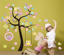 Wholesale Chic Bedroom Decor - Chic Black Family Tree Colorful Flowers Wall Art Mural Sticker Beautiful Tree with hanging owls pink flowers Home Decor Kids Room Decal
