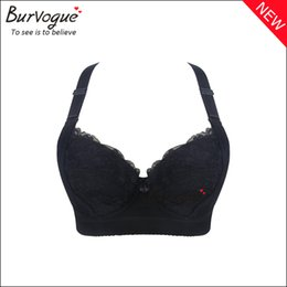 Wholesale 36d Lace Bra - Burvogue 2016 new fashion sexy women plus size C D E cup Intimates bras push up lace Brassiere underwear Padded Lingerie Beige,black