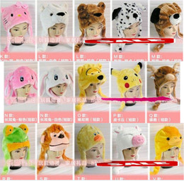 Wholesale Warm Costumes - Cartoon Animal Hat Long Fluffy Plush Cap MASK Scarf Hood 3D Earmuff Headgear Party Beanie Hats Caps Halloween props Fur Costume Warmer good