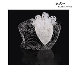 Wholesale Tulle Face - Free Shipping In Stock Top Selling White Tulle Birdcage Bridal Hats Crystals Flower Fascinator Bride Wedding Party Hats Face Veils