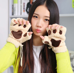 Wholesale Black Ladies Winter Gloves - Ladies Winter Fingerless Gloves Mittens Fluffy Bear Cat Plush Paw Claw Half Finger GloveHalf Cover Women Female Glove 12pcs Lot FreeShipping