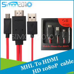 Wholesale Hdmi Hdtv Adaptor Cable - 2M 1080P Micro USB MHL to HDMI Cable Adapter HDTV adaptor for Samsung Galaxy S3 i9300 Note II CC-5 DHL 30PCS for samsung