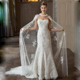 Wholesale Long Red Wedding Cloak - Elegant 2016 Bridal Wraps Wedding Coat Sheer Lace long Cape with Beads Bridal Wedding Coat Bride Jacket Cloak