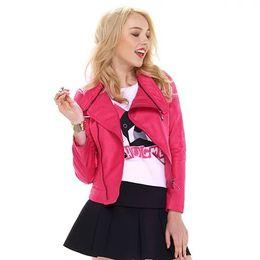 Wholesale Womens Leather Bomber Jackets - 2015 Fashion Bomber Leather jacket Womens leather jackets and coats Red Black jacket jaqueta de couro feminina Plus Size FG1510