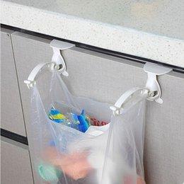 Wholesale Cabinet Trash Bag Holder - Wholesale- 1 set! New Kitchen Cabinet bags hooks Trash PP Plastic Hanger Cupboard Door Hanging Rack holder for storage bag
