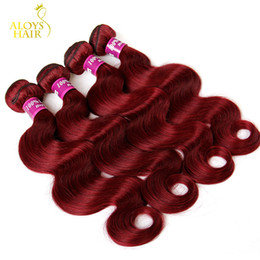 Wholesale hair extension color wine - Burgundy Indian Hair Weave Bundles Grade 8A Wine Red 99J Indian Virgin Hair Body Wave 4Pcs Lot Indian Mink Remy Human Hair Extensions