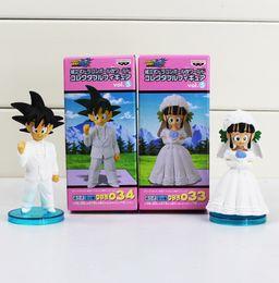 Wholesale dragon dolls - Anime DRAGON BALL Son Goku ChiChi Wedding scene WCF DWC7 PVC Dolls Toys Action Figure Free shipping