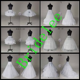 Wholesale Hoopless Petticoats - In Stock Free Shipping 6 Styles White A Line Hoop Hoopless Short Crinoline Petticoat Slips Underskirt Wedding Bridal Accessories