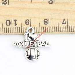 Wholesale Jewelry Charms Words - 20pcs Tibetan Silver Plated Word I Love Volleyball Charms Pendants for Jewelry Making DIY Handmade 19x21mm A125 Jewelry making DIY
