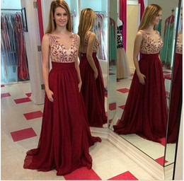 Wholesale Chiffon Empire Waist Prom Dress - 2016 Burgundy A Line Prom Dresses Sheer Neckline Appliques Open Back Empire Waist Chiffon Skirts Long Evening Dresses Party Formal Gown